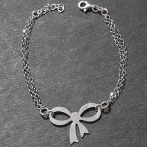 Silver Christmas Merry Bow Double Chain Bracelet